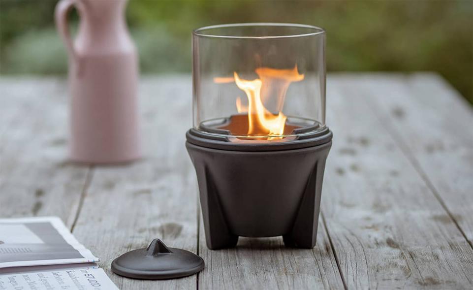 Schmelzfeuer® Outdoor CeraLava® mit Lichtglas-Aufsatz