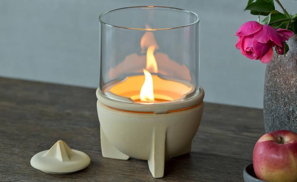 Schmelzfeuer® Indoor CeraNatur® mit Windglas-Aufsatz